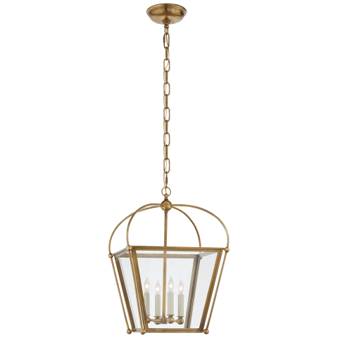 Plantation Small Square Lantern in Antique-Burnished Brass with Clear Glass