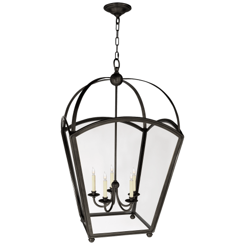Arch Top Large Tapered Lantern in Bronze