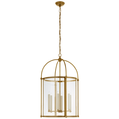 Plantation Large Round Lantern in Antique-Burnished Brass with Clear Glass