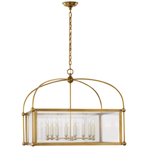 Plantation Wide Square Lantern in Antique-Burnished Brass with Clear Glass