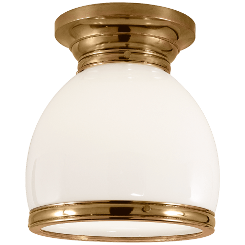 Edwardian Open Bottom Flush Mount in Antique-Burnished Brass with White Glass