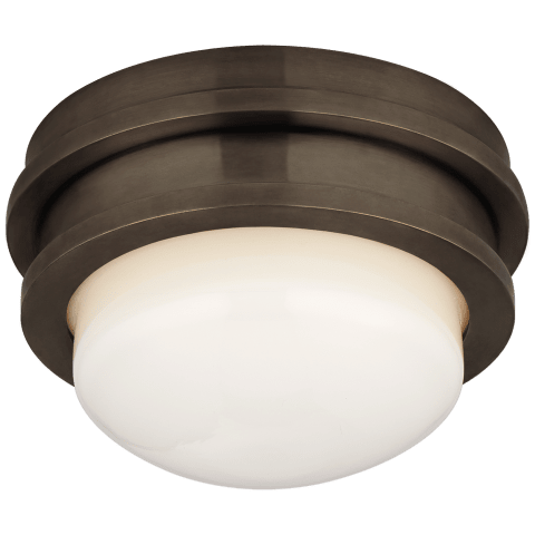 """Launceton 5"""" Solitaire Flush Mount in Bronze with White Glass"""
