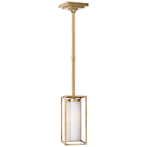 Easterly Small Pendant in Antique-Burnished Brass with White Glass