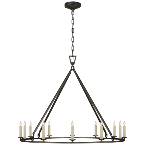 Darlana Large Single Ring Chandelier in Aged Iron