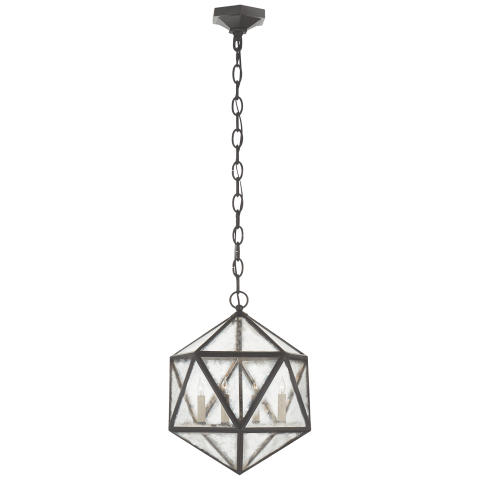 Zeno Medium 18 Facet Hedron Lantern in Aged Iron with Antique Mirror