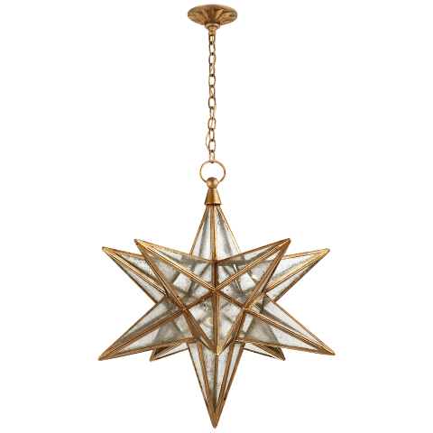 Moravian Large Star Lantern in Gilded Iron with Antique Mirror