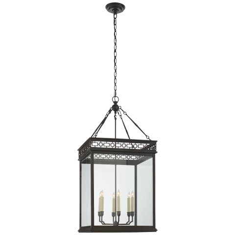 Newcastel Fret Lantern in Aged Iron with Clear Glass
