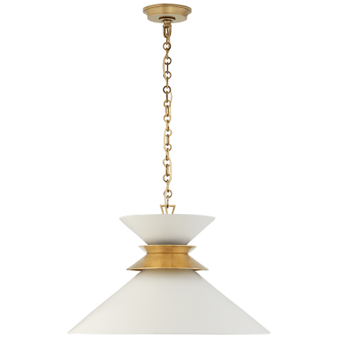 Alborg Large Stacked Pendant in Antique- Burnished Brass with Matte White Shade