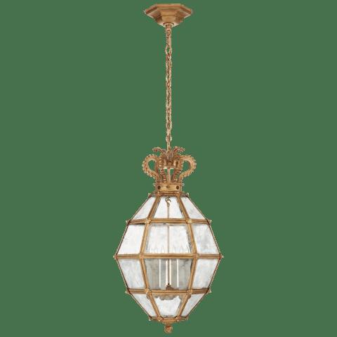 Venezia Medium Faceted Scroll-Top Lantern in Gilded Iron with Antique Mirror