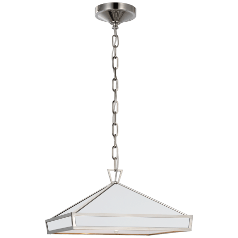 Darlana Small Pendant in Polished Nickel with Matte White Panels and Acrylic Diffuser