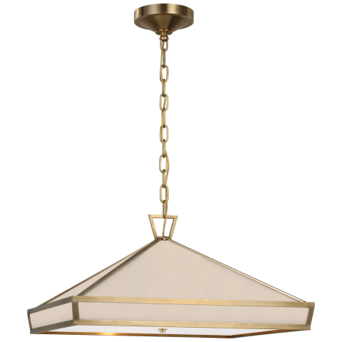 Darlana Medium Pendant in Antique-Burnished Brass with White Glass Panels and Acrylic Diffuser
