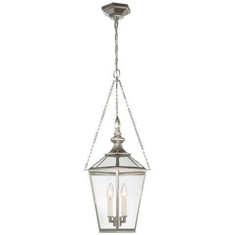 Evaline Small Lantern in Polished Nickel with Clear Glass