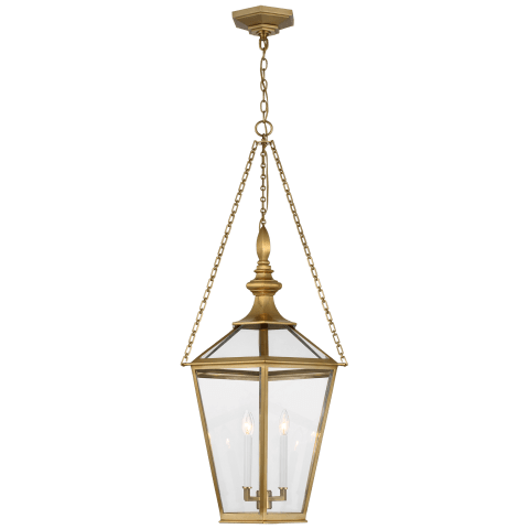 Evaline Large Lantern in Antique-Burnished Brass with Clear Glass