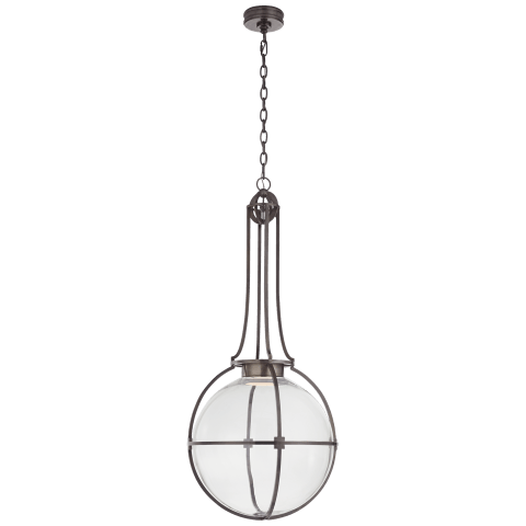 Gracie Large Captured Globe Pendant in Bronze with Clear Glass