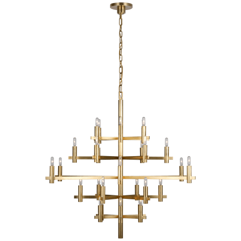 Sonnet Large Chandelier in Antique-Burnished Brass