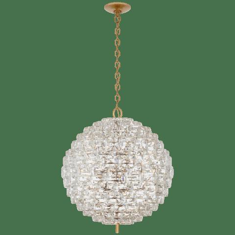 Karina Large Sphere Chandelier in Antique-Burnished Brass and Crystal