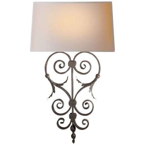 Emilia Sconce in Aged Iron with Natural Paper Shade
