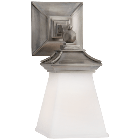 Chinoiserie Single Light in Antique Nickel with White Glass