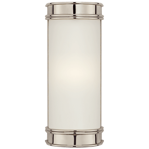 "Oxford 8"" Bath Sconce in Polished Nickel with Frosted Glass"