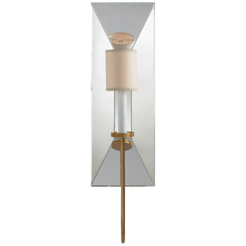 Cotswold Large Mirrored Sconce in Antique-Burnished Brass with Natural Paper Shade