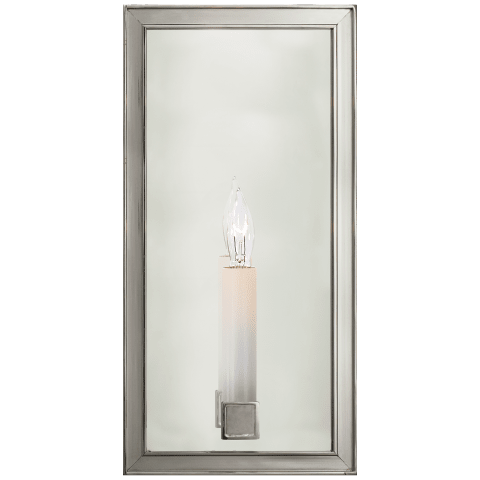 "Lund 12"" Single Sconce in Polished Nickel with Mirror"