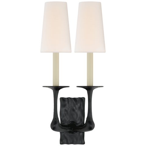 Gabriel Double Sconce in Aged Iron with Linen Shades