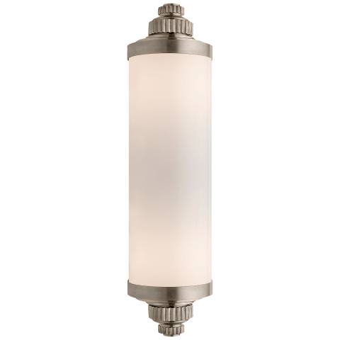 Ruhlmann Linear Bath Sconce in Antique Nickel with White Glass
