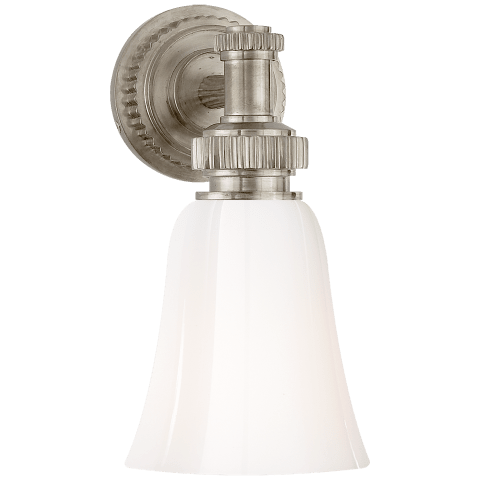 Ruhlmann Single Bath Sconce in Antique Nickel with White Glass