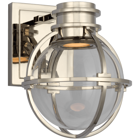 Gracie Single Sconce in Polished Nickel with Clear Glass