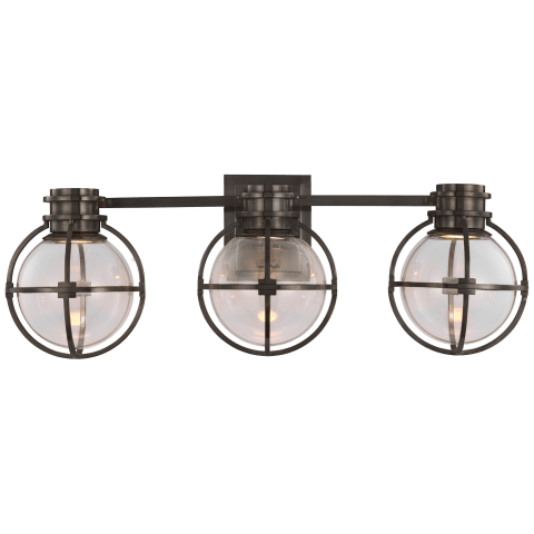 Gracie Triple Sconce in Bronze with Clear Glass