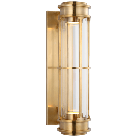 """Gracie 19"""" Linear Sconce in Antique-Burnished Brass with Clear Glass"""