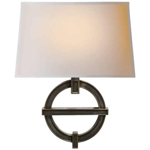 Symbolic Fragment Wall Sconce in Bronze with Natural Paper Shade