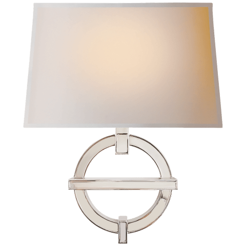 Symbolic Fragment Wall Sconce in Polished Nickel with Natural Paper Shade