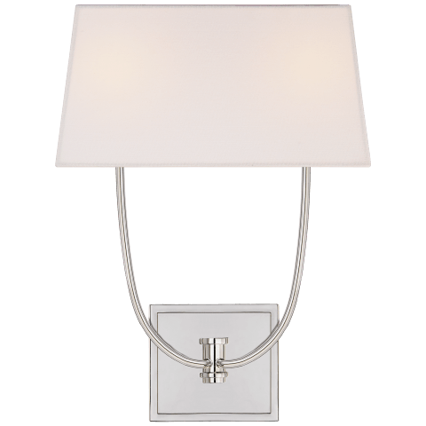 Venini Double Sconce in Polished Nickel with Linen Shade