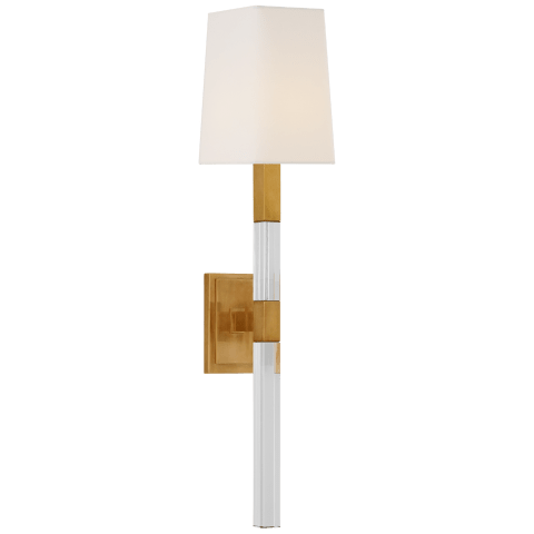Reagan Medium Tail Sconce in Antique-Burnished Brass and Crystal with Linen Shade