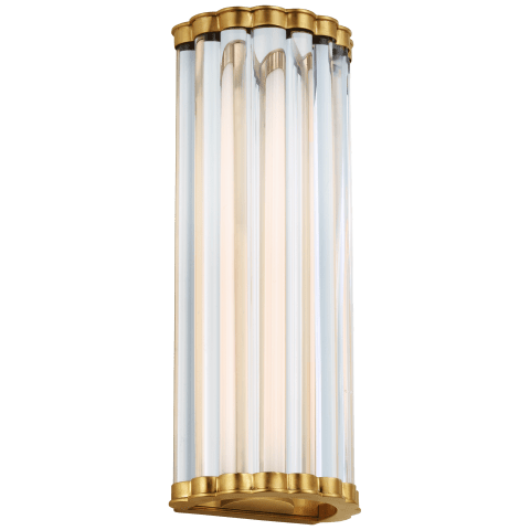 """Kean 14"""" Sconce in Antique-Burnished Brass with Clear Glass Rods"""
