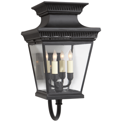 Elsinore Medium Bracket Lantern in Black with Clear Glass