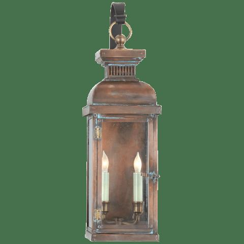 Suffork Medium Scroll Arm Lantern in Natural Copper