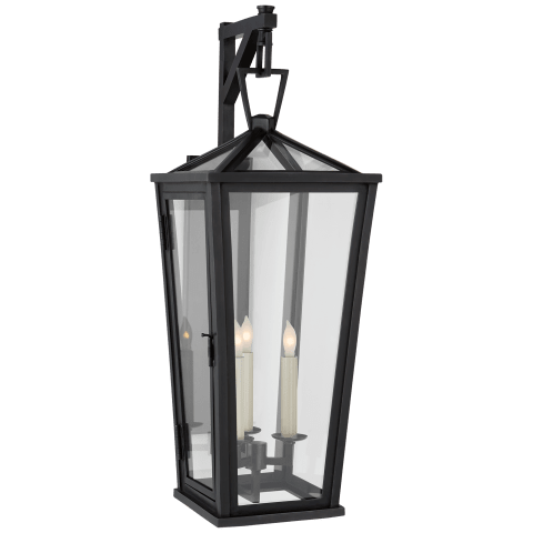 Darlana Medium Tall Bracketed Wall Lantern in Bronze with Clear Glass