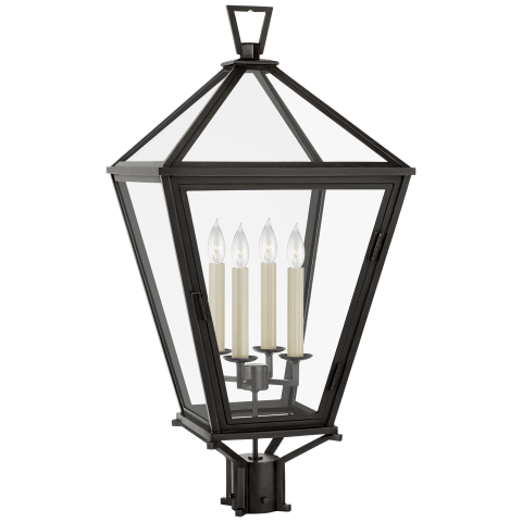 Classic Darlana Post Light in Bronze with Clear Glass