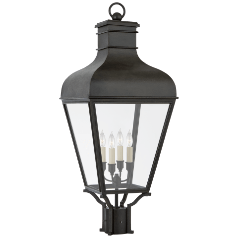 Fremont Post Light in French Rust with Clear Glass