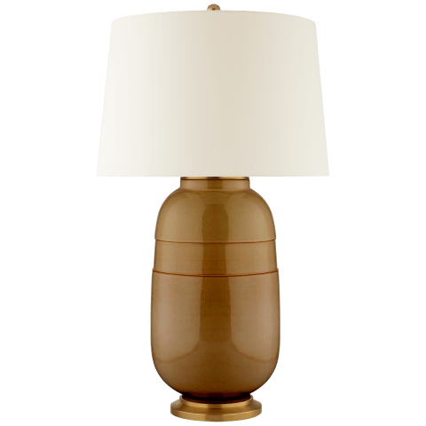 Newcomb Large Table Lamp in Dark Honey with Natural Percale Shade
