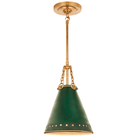 Hadley Small Pendant in Natural Brass with Dark Green Tole and White Interior Shade