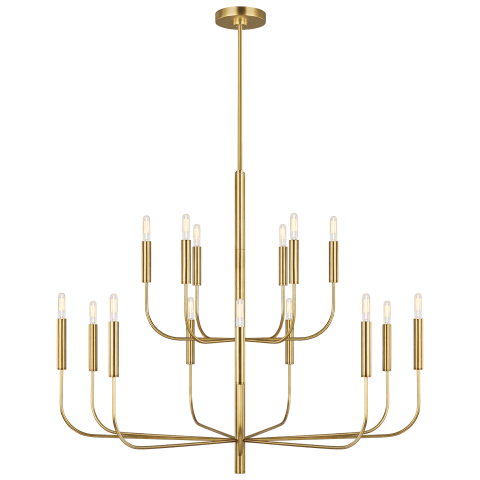 Brianna 15 - Light Chandelier Burnished Brass