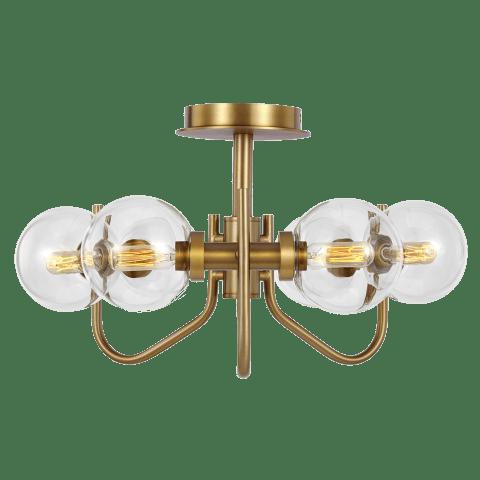 Verne Semi-Flush Mount Burnished Brass