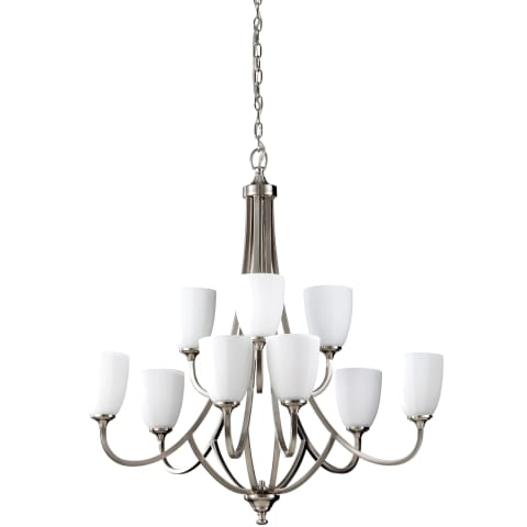 Perry 9 - Light Multi-Tier Chandelier Brushed Steel