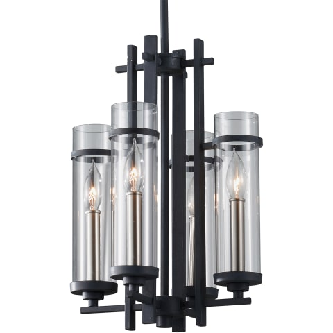 Ethan 4 - Light Mini Chandelier Antique Forged Iron / Brushed Steel