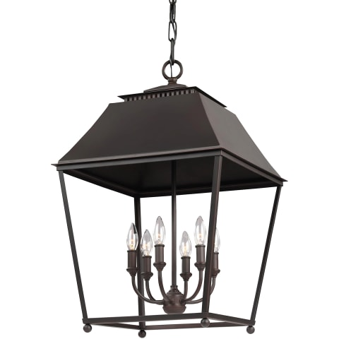 Galloway 6 - Light Foyer Pendant Dark Antique Copper / Antique Copper