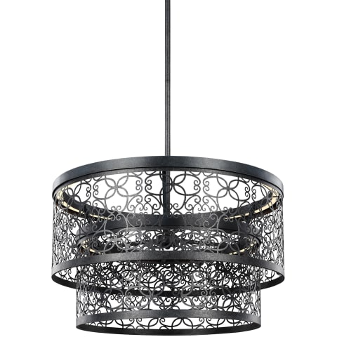 Arramore 24 Inch Two-Tier Outdoor LED Pendant Dark Weathered Zinc Bulbs Inc