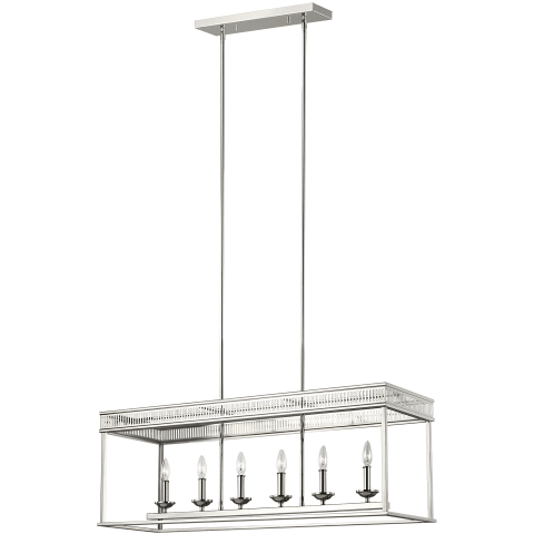Woodruff 6 - Light Linear Chandelier Polished Nickel